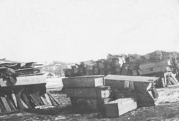 Coffins stacked in Changchun